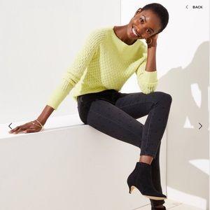 LOFT Petite Modern Dotted Skinny Jean in Black